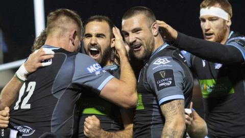 Glasgow Warirors' Nick Frisby celebrates his try