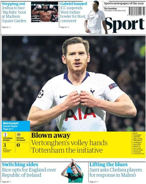 Guardian back page on Thursday