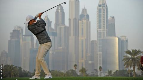 Rory McIlroy completing his second round at the Dubai Desert Classic