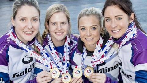 Chalmers, second left, helped Scotland to European Championships gold in 2017