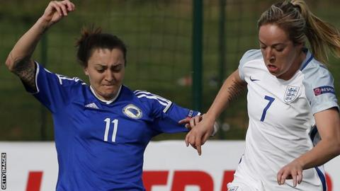 Lidija Kulis in action for Bosnia and Herzegovina against England