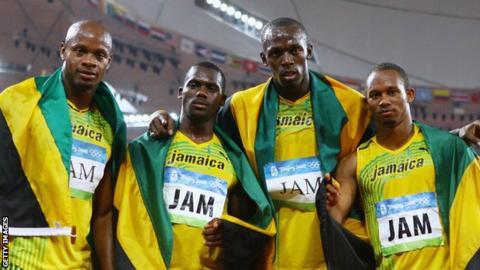 (Left to right) Asafa Powell, Nesta Carter, Usain Bolt and Michael Frater