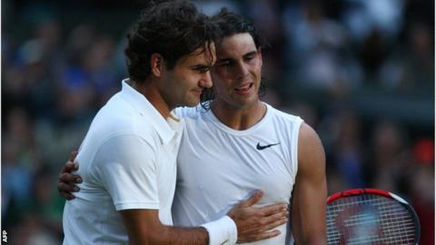 Roger Federer and Rafael Nadal embrace after the 2008 Wimbledon men's singles final