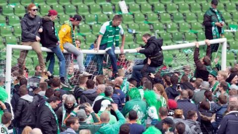 Werder Bremen fans celebrate survival