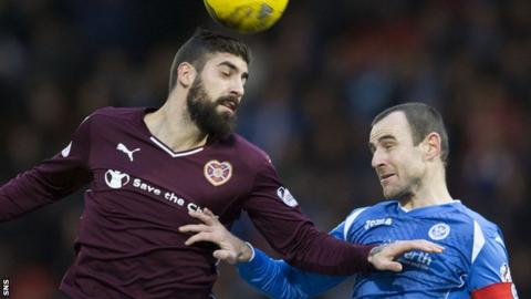 Hearts' Juanma tussels with St Johnstone's Dave Mackay