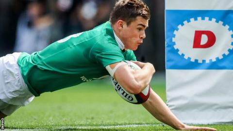 Garry Ringrose goes for a try in Ireland's victory over Japan in Tokyo in June