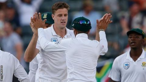 Morne Morkel celebrates taking a wicket for South Africa