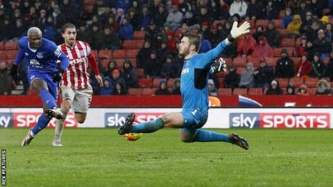 Stoke's defeat by Everton might have been heavier but for a second-half save from Jack Butland to deny Arouna Kone