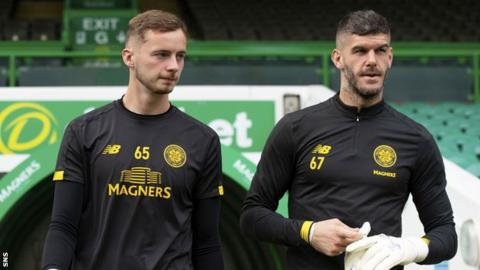 Celtic goalkeepers Conor Hazard and Fraser Forster