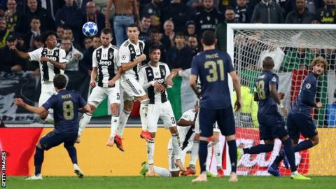 526adfc04 Juan Mata s free-kick was the first goal Juventus have conceded in the  Champions League this season