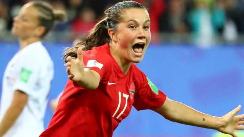 Jessie Fleming celebrates scoring for Canada against New Zealand
