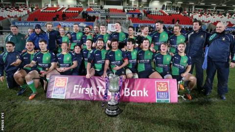 The Ballynahinch squad celebrate after retaining the Ulster Senior Cup