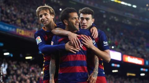 Barcelona players celebrate