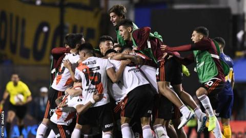 River Plate players celebrate reaching the final