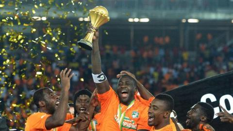 Yaya Toure celebrates winning the 2015 Africa Cup of Nations