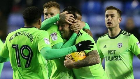 Cardiff City celebrate their late equaliser at Reading