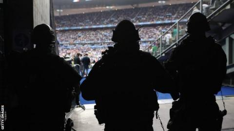 French police at the Stade de France during the opening game of Euro 2016