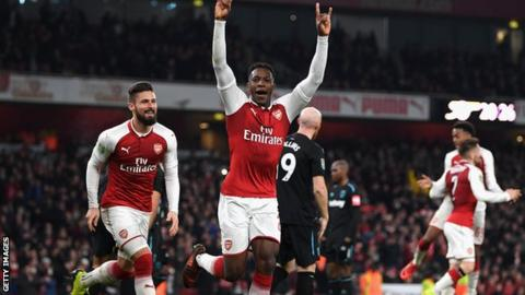 Danny Welbeck celebrates making the breakthrough just before half time