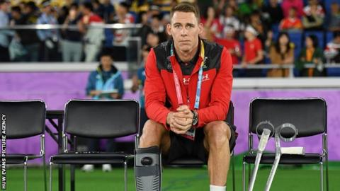 Liam Williams watches Wales take on South Africa in the 2019 Rugby World Cup semi final