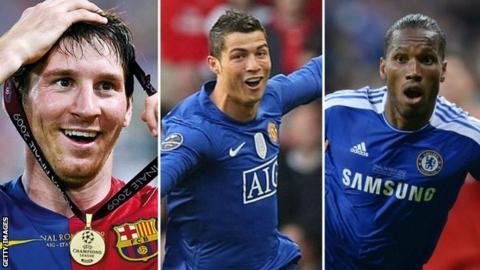 Lionel Messi, Cristiano Ronaldo and Didier Drogba