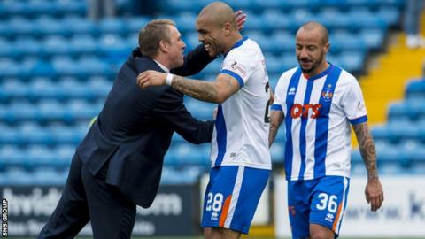 Lee Clark congratulates striker Josh Magennis after the win over St Johnstone