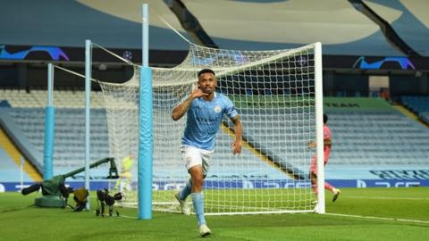 Gabriel Jesus celebrates scoring for Manchester City against Real Madrid in the Champions League