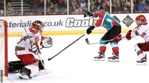 James Desmarais gets in a shot on Cardiff's goal in Saturday's game