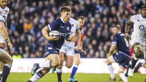 Scotland's Huw Jones playing against England
