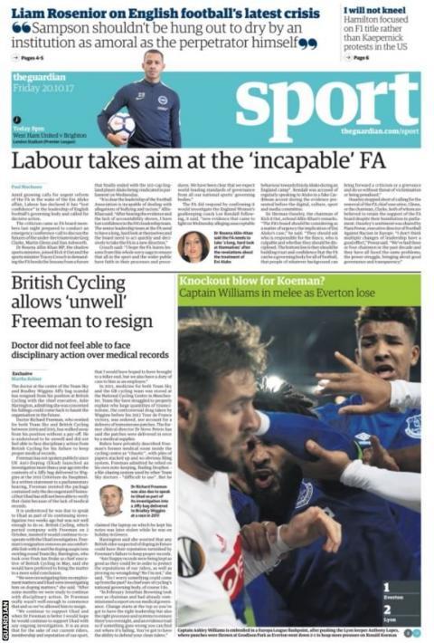 The Guardian show Everton captain Ashley Williams' scuffle against Lyon