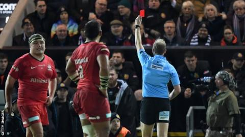 Harry Williams was shown the red card whilst on the bench following the incident in Exeter's 14-7 win over Saracens on Sunday