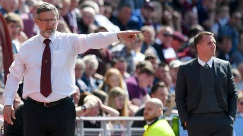 Hearts manager Craig Levein and Celtic manager Brendan Rodgers