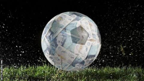 A football appearing to be made of £5 notes wrapped around