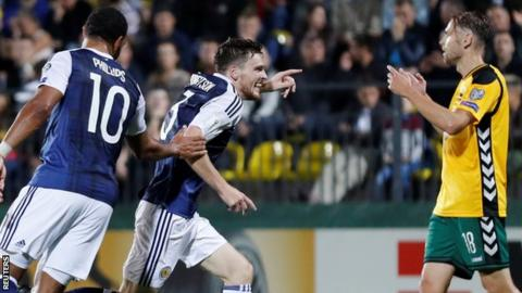 Scotland's Andrew Robertson (centre) celebrates his goal against Lithuania