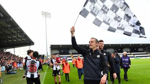 St Mirren manager Oran Kearney celebrates their play-off win