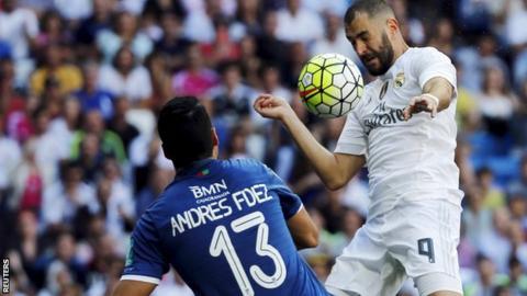 Karim Benzema scores Real Madrid's winning goal against Granada