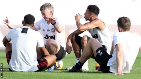 Caretaker Manager Ole Gunnar Solskjaer of Manchester United in action during a first team training session at Nad Al Sheba in Dubai