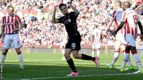Philippe Coutinho celebrates scoring for Liverpool against Stoke City