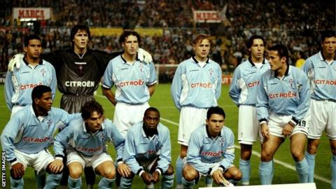 The Celta Vigo team which beat Liverpool 3-1 in the old Uefa Cup at Estadio Balaidos in 1998
