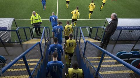 Montrose and Edinburgh City emerge from the tunnel