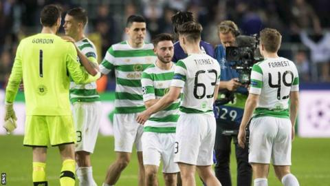 The Celtic players celebrate their win over Anderlecht in Brussels