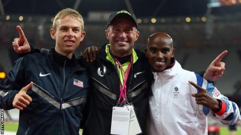 Alberto Salazar (centre) celebrates Sir Mo Farah (right) winning gold in the 10,000m final at the London 2012 Olympics with team mate and silver medalist Galen Rupp (left)