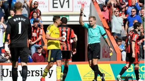 Middlesbrough were forced to play with 10 men for 70 minutes at Bournemouth after Uruguay midfielder Gaston Ramirez was sent off