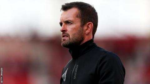 Stoke boss Nathan Jones on the sidelines