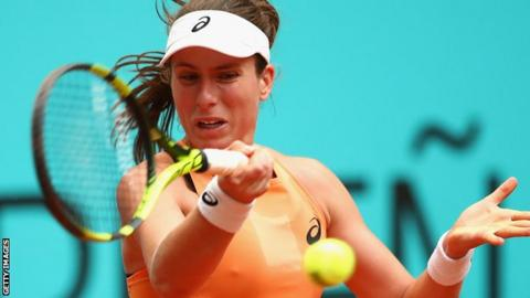 Johanna Konta in Madrid Open action
