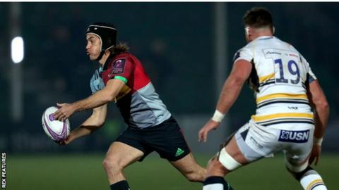 Demetri Catrakilis in action for Harlequins against Worcester in their European Challenge Cup quarter-final