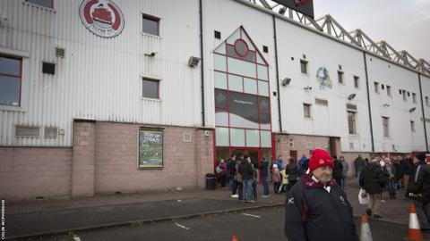 Fans gather outside Broadwood Stadium for the SPFL League 2 clash between Clyde and in-form Edinburgh City.