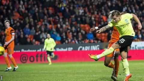 Jason Cummings scores for Hibernian against Dundee United