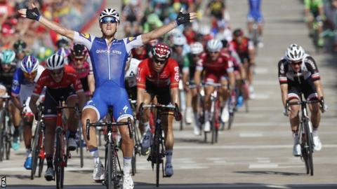 Matteo Trentin celebrates winning stage four of the Vuelta