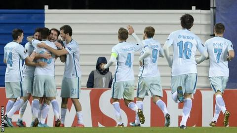 Zenit St Petersburg players celebrate