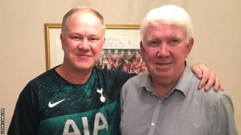 Leon Lawler with his father, the former Liverpool player Chris Lawler